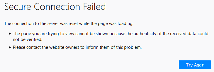 How do I fix the Secure Connection Failed error in Mozilla Firefox - THE PROBLEM