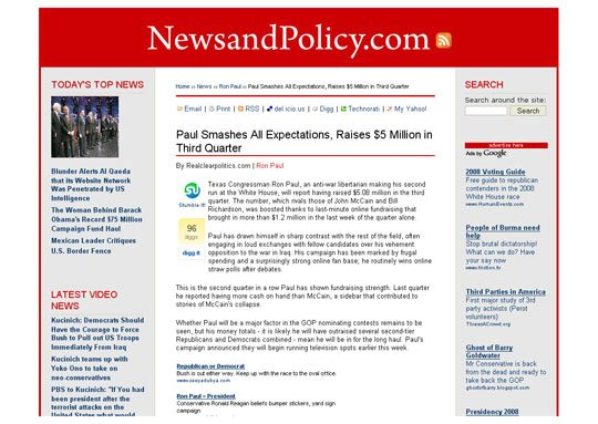 Political Blog Development: NewsAndPolicy.com Internal Articles