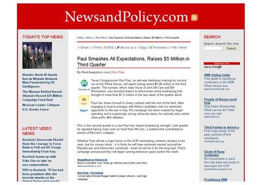 Political Blog Development: NewsAndPolicy.com Internal Articles