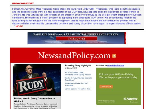 Political Blog Development: NewsAndPolicy.com Home page