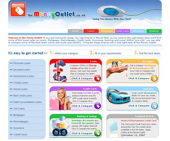 Finance Web site Development: The MoneyOutlet.co.uk
