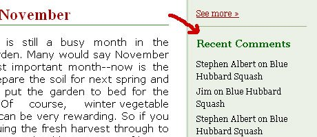 Movable Type Most Recent Comments Sample from Harvest Wizard (sidebar widget)
