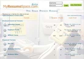 phpBB Forum Complete Layout Customization Sample from MyResumeSpace.com