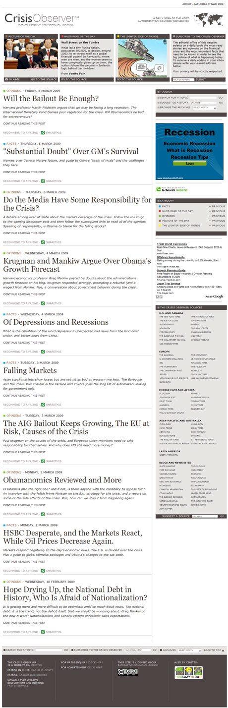 CrisisObserver.com Main Page