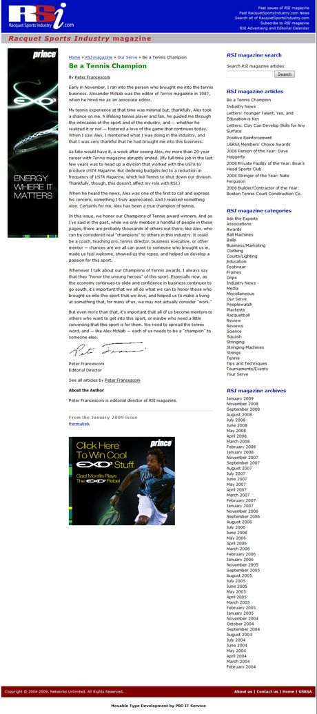 Racquet Sports Industry Individual Article Web page