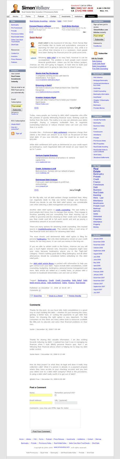 Simon Volkov.com Individual Article (Blog Section)