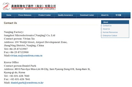 Sensitron Semiconductor (Nanjing) - English Contact Page