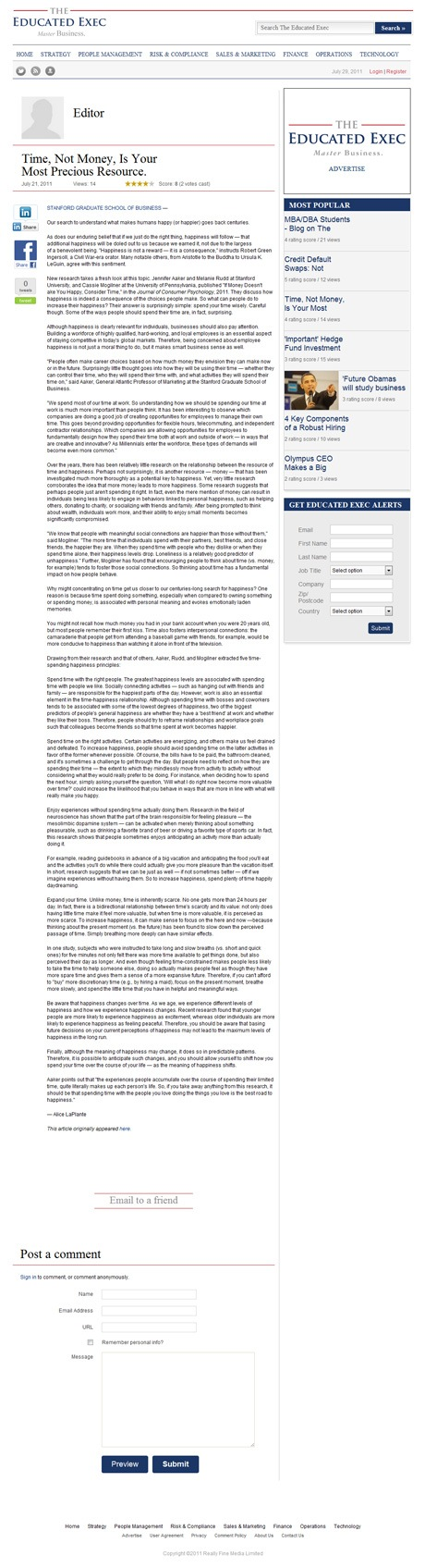 The Educated Exec Blog Individual Article Page