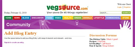 VegSource.com Discussion - Add Blog Entry (Not Logged In)