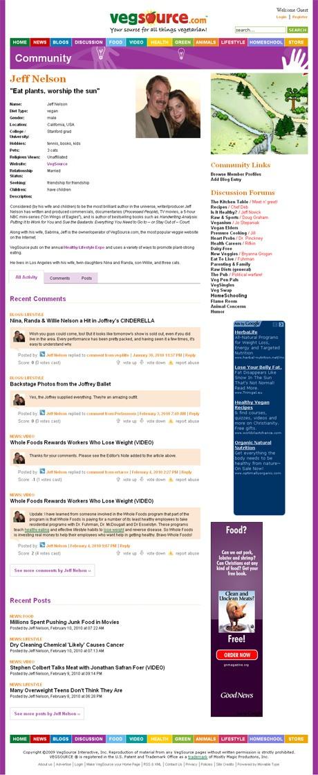 VegSource.com User Profile Page