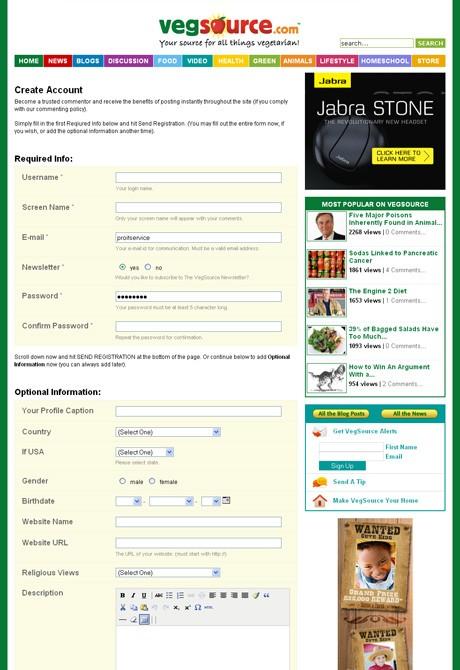 VegSource.com User Registration Page